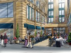 An artist rendering of what the new courtyard will look like when the Verizon section is removed from the PacMutual Building along 6th Stree...