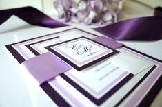 Purple Wedding Invitation, Purple Wedding Invitations, Plum, Belly Band, Calligraphy, Elegant, Purple Wedding Invites - DEPOSIT