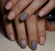 Nail design using gray and pink