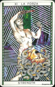 XI. Strength - Tarocco Mitologico by Amerigo Folchi