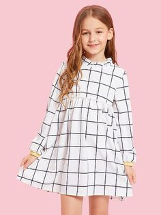 To find out about the Girls Grid Print Mock Dress at SHEIN, part of our latest Girls Dresses ready to shop online today! Girls Fashion Clothes, Tween Fashion, Look Fashion, Fashion Outfits, Cute Girl Outfits, Little Girl Dresses, Girls Dresses Online, Floral Print Shirt, Contrast Collar