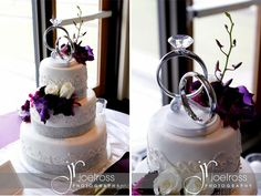 Love this cake AND the topper    Plum and Silver Wedding with lots of Bling in Winnipeg, MB,Canada - Brenda's Wedding Blog - unique daily wedding blogs from Best Wedding Sites for brides & grooms