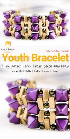 2 Hole Pyramid and Brick Czech Glass Beads - YOUTH CUFF BRACELET Pattern Free Video Tutorial   SAVE it!  www.CzechBeadsExclusive.com #czechbeadsexcluisve #czechbeads