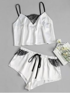 Sponsored: Lace-detail Satin Pajama Set - White - Material: Polyester Material Type: Satin Pattern Type: Solid Weight: Package: 1 x Camis 1 x Shorts Satin Pyjama Set, Satin Pajamas, Pajama Set, Cozy Pajamas, Pyjamas, Tartan Pants, Cute Pjs, Cute Sleepwear, Womens Pyjama Sets