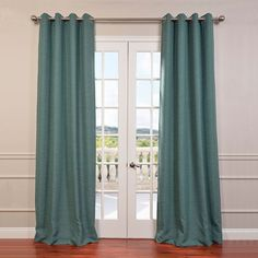EFF Bellino Blackout Curtain ($112) ❤ liked on Polyvore featuring home, home decor, window treatments, curtains, green, green grommet curtains, thermal panels, thermal blackout curtains, grommet draperies and blackout drapery