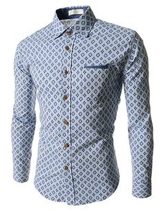 (CZ50-BLUE) Slim Fit Pattern 1 Chest Pocket Patched Long Sleeve Shirts