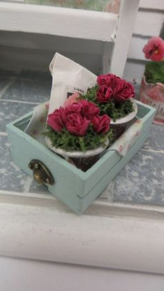 A single crate with pink roses in pots for the dollhouse or miniature scene ♡ ♡