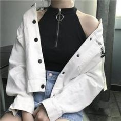 Sleeveless sweater creates sharp, defined angles with its halter neckline and emphasized by the half-zip closure. Size runs small. Color: White, Materials: Cotton, Size: One Size: Total Length: 43cm, Bust: 76-96cm, Waist: 68-72cm, Care: N/A Teen Fashion Outfits, Mode Outfits, Mode Grunge, Mode Kpop, Rocker, Korean Fashion Trends, Ulzzang Fashion, Kpop Fashion, Womens Fashion