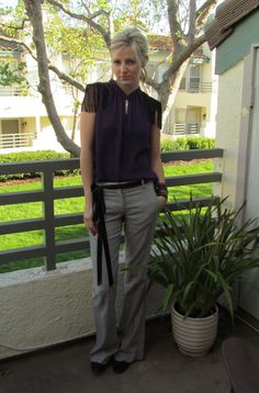 slacks: Theory, blouse: BCBG, belt: Gap, heels: Paolo