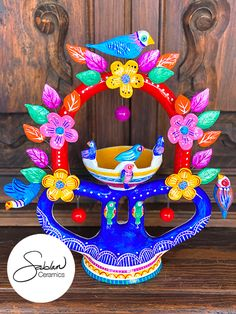 Hand sculpted and hand painted one of a kind piece inspired by vintage Mexican folk art, Arbols de la Vida Ceramic Painting, Ceramic Art, Mexican Colors, Kitsch Decor, Mexican Ceramics, Mexican Folk Art, Eclectic Decor, Tree Of Life, Colorful Decor