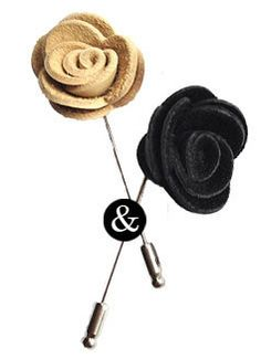 White and black leather rose lapel pins. Made from the finest cowhide leather. Midnight Black Color & Vanilla Cream Color. Handcrafted in the USA