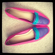 Vtg 80s Colorblock Loafers shoes by Joyce Size78 by PARASOLvintage,