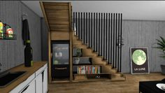 Wooden storage staircase for The Sims 4