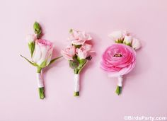 DIY Wedding Boutonnieres!!! by Bird's Party  #wedding #floral #boutonnières