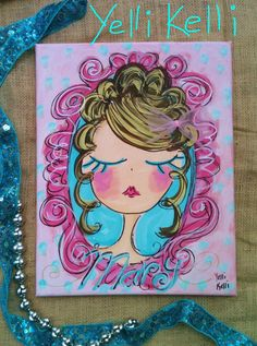 Shabby Cameo Original Canvas Painting Made To Order With Name. $35.00, via Etsy.