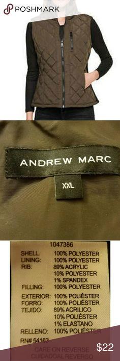Andrew Marc Vest Lined, quilted vest in olive green. Andrew Mark Jackets & Coats Vests
