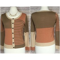 """✳️ SALE ✳️ spring Taupe & peach cardi , sz M or L Beautiful peach and taupe cardigan   NWT  100% acrylic  excellent quality  button front Size medium bust 34-36 size large bust 36-38 length from shoulder down 22"""" length of sleeve from shoulder down 27""""  very very  pretty Sweaters Cardigans"""