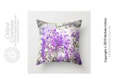 Wisteria Blooms Pillow Lilac Flower Throw by CatinoCreations  -- Beautiful products like this can be custom made for you by our members at http://DigiColorCreations.com.  -- A DigiColorCreations.com member will produce this on demand for you!