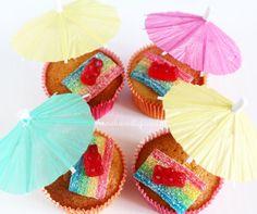 5 grappige traktaties - strand cupcakes traktatie