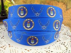 Dept of U.S. Air Force 1 printed grosgrain ribbon by fancypaper, $1.50 Military Ribbons, Us Air Force, Grosgrain Ribbon, Retirement, Headbands, Sunglasses Case, Bows, Crafty, Quilts