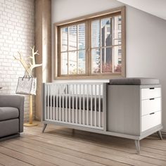 Soren Quattro Station by Tulip Juvenile Cribs   YLiving.com OBSESSED! Converts to twin bed with purchase of L shape converter
