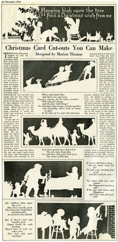FREE Digital Christmas Card Cutouts This page is from the December 1914 issue of The Ladies' World magazine. It's a large image: 6.8″ x 14″ at 300 dpi (3.8 MB).