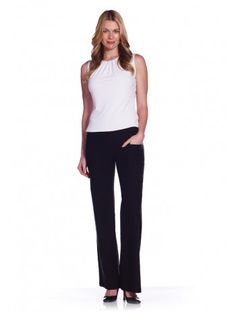 "Our Classic Wide Leg Pant offers a special kind of flare with flair. It flatters your hips and abs and continues the sleek look all the way down to your toes. Lisette L's Wide Leg Pant gives you a beautiful slim fit with our exclusive Flaterie Fit™ design. Hand Washable, turn inside out. Remember to select one size smaller for the perfect fit. Made in Canada.  Inseam: 33"" Leg Opening: 11 1/2"" Front Rise: 9 1/2"" 76% Rayon, 21% Nylon, 3% Spandex"