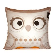 Decorative Deluxe Pillow, Stuffed Forest Animal Kawaii Toy Pillow, Eco-Friendly Printed on Cotton Fabric - Snow Owl. $38.00, via Etsy.