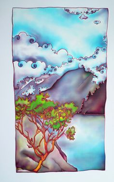 Arbutus and Clouds - Hand Painted silk. $400.00, via Etsy.