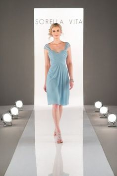 Spring bridesmaid dress idea - light blue cocktail length dress with criss-cross sweetheart bodice and chiffon skirt. Style 8629 by Sorella Vita. See more Sorella Vita dresses by on Sorella Vita Bridesmaid Dresses, Light Blue Bridesmaid Dresses, Blue Bridesmaids, Cocktail Length Dress, Wedding Dress Pictures, Gown Photos, Perfect Wedding Dress, Chiffon Skirt, Wedding Gowns