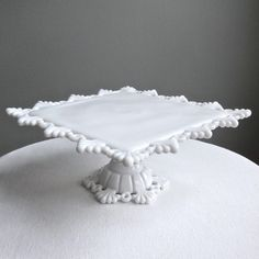 Westmoreland Milk Glass Cake Stand - Square - Petal and Ring. $150.00, via Etsy.