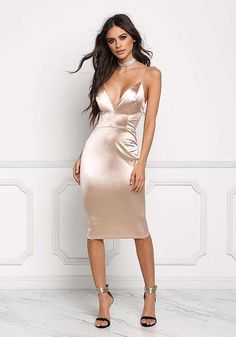 Champagne Satin Cross Strap Plunge Bodycon Dress - Going Out - Dresses Tight Dresses, Satin Dresses, Silk Dress, Sexy Dresses, Nice Dresses, Dress Up, Bodycon Dress, Sexy Long Dress, Mermaid Evening Dresses