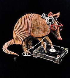 Armadillo Scratchboard Print