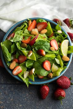 Easy tasty healthy. Three in one. The PERFECT spring and summer salad with spinach, strawberries, snow peas and almond. | giverecipe.com | #spinach #strawberry