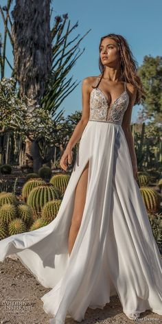 asaf dadush 2018 bridal spaghetti strap deep plunging sweetheart neckline heavily embellised bodice double slit slirt romantic soft a line wedding dress open strap back sweep train (10) mv -- Asaf Dadush 2018 Wedding Dresses #weddingdress