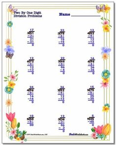 Spring theme long division worksheets, and many more. Plenty of PDF math worksheets for holidays and general use in a variety of fun designs, all ready to print. No login, no signup, no complex downloads. Click through to browse them all! Multiplication And Division Worksheets, Addition And Subtraction Worksheets, 2nd Grade Math Worksheets, Number Worksheets, Multiplication Chart, Math 2, Division Math Problems, Math Fact Practice, Free Printable Math Worksheets