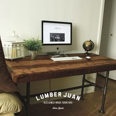 Reclaimed wood dining table / desk by LumberJuan on Etsy
