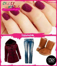 ¡Combina tus uñas velvet con texturas en tu ropa!¿Qué te parece este look en tonos invernales? #CrazyNails