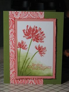 handmade card ...  luv the color combo of olive and coral pink ... double stamp flower ... inked embossing folder texure ... good design layout ... Stampin' Up!