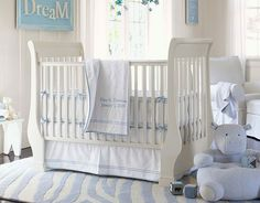 Pottery barn kids- pique crib bedding  Hadden's crib bedding! I hope it looks just as pretty in his dark crib. :)