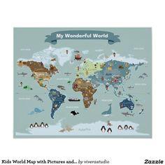 World map decal world map animals animal world poster map compassion carte du monde denfants avec des images et des affiches gumiabroncs Images