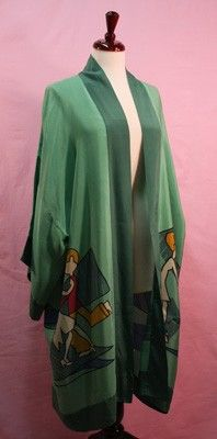 1920s John Held Jr, deco jade green kimono robe