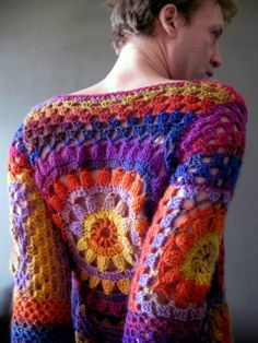 Gorgeous granny square inspired pullover. There are enough photos that you can figure out how it's made.