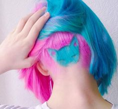 """Here Kitty Kitty Bright pink and blue hair color and adorable """"sleeping kitty"""" hair art by Undercut Hairstyles, Pretty Hairstyles, Funky Hairstyles, Undercut Bob, Amazing Hairstyles, Latest Hairstyles, Haircuts, Pink Hair, Blue Hair"""