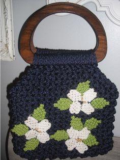 vintage Artsy crocheted macrame Handbag purse ..... w flowers and wood handles via Etsy