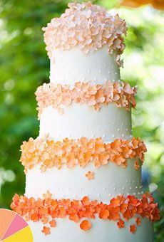 Brides Magazine: Summer Wedding Colors: Pink, Peach, Yellow : Wedding Cakes Gallery