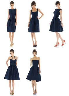 These might be my favorite styles. Navy Bridesmaid Dresses - Alfred Sung