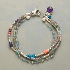 "OMNIBUS BRACELET -- Strands of apatite, labradorite, rhodonite, iolite, amethyst, lilac jade, peach coral and pearl—all three sparked with sterling silver. Exclusive multi-strand bracelet handmade in USA. Lobster clasp. Approx. 7-1/2""L."