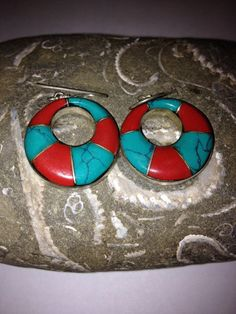 Navajo Turquoise Red Coral Earrings Sterling Silver by BargainBitz Coral Earrings, Sterling Silver Earrings, Red Coral, Turquoise, Mother Birthday Gifts, Navajo Jewelry, Southwestern Jewelry, Rock Art, Small Businesses