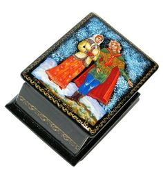 April Palekh Miniature Lacquer Box #Russiangifts #babooshkadoll #nestingdoll #dollindoll #babushka #Russiantoy #nesteddoll #Russiandoll #nestingdolls #Woodendolls #lacquerbox #matryoshka #Russianbox #stackingdoll Unique Gifts For Kids, Orphan Girl, Christmas Flowers, Wooden Dolls, Spring Flowers, Fairy Tales, Miniatures, Hand Painted, Box
